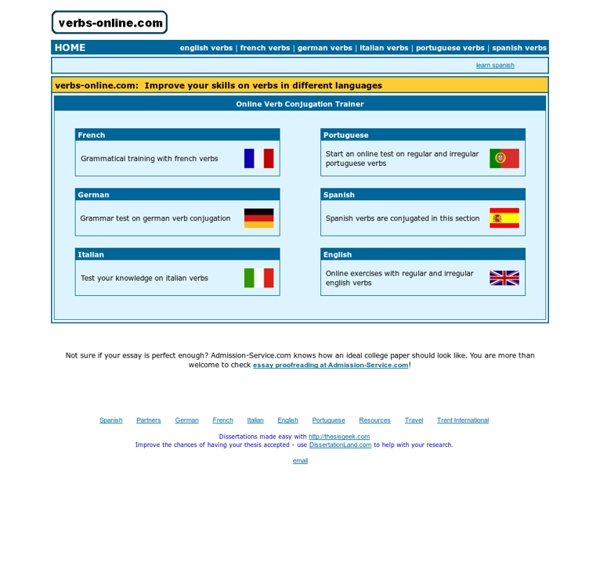Verbs-online.com: Online Verb Conjugation Trainer - Learn Spanish, Portuguese, German, Italian, French, English
