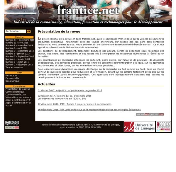 Frantice.net. Industries de la connaissance, éducation, formation et technologies pour le développement