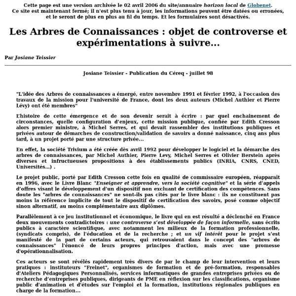 Les Arbres de Connaissances : objet de controverse et expérimentations à suivre...