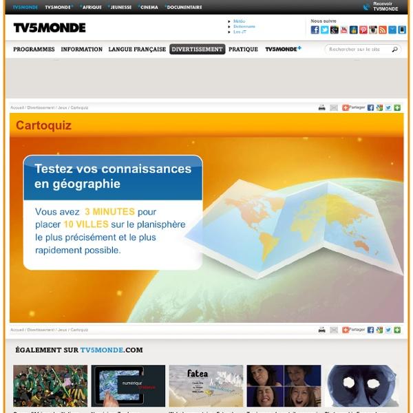 MONDE - Jeux en ligne - Cartoquiz, testez vos connaissances en géographie