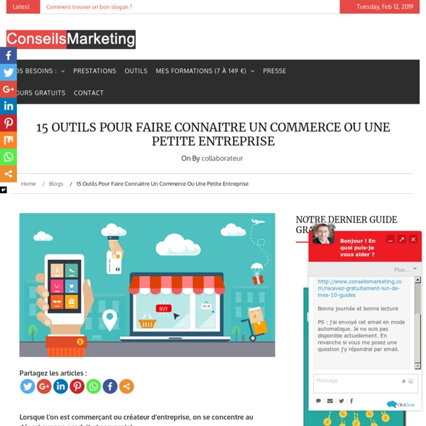12 outils pour faire connaitre un commerce ou une petite entreprise – Partie 1