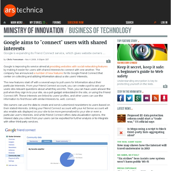 """Google aims to """"connect"""" users with shared interests - Ars Techn"""