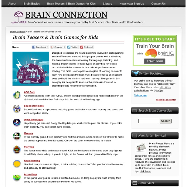 BrainConnection.com - The Brain and Learning: Brain Teasers