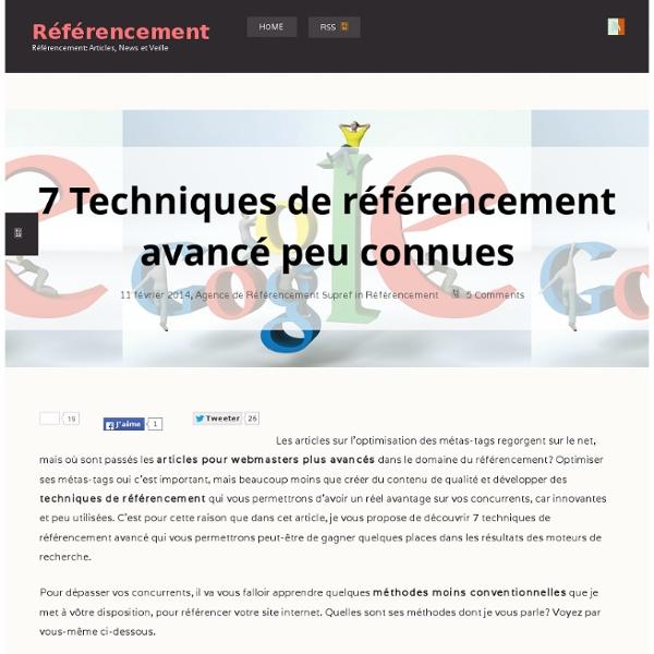 7 - Techniques de référencement avancé - peu connuesRéférencement