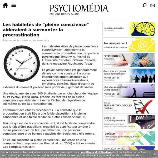 """Les habiletés de """"pleine conscience"""" aideraient à surmonter la procrastination"""