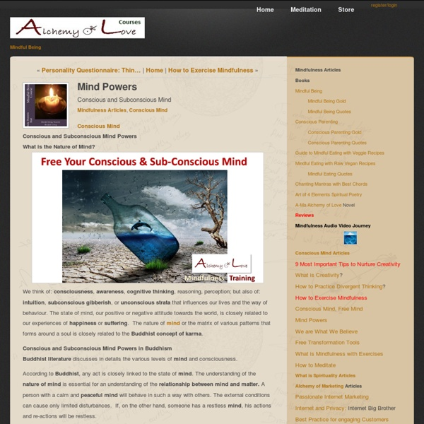 Conscious Mind [Article]: Conscious and Subconscious Mind Powers