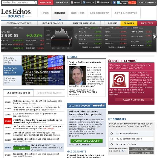 Bourse en temps réel : CAC 40, Cours cotation, Indices boursiers