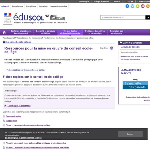 Le conseil école-collège - Ressources pour la mise en oeuvre du conseil école-collège