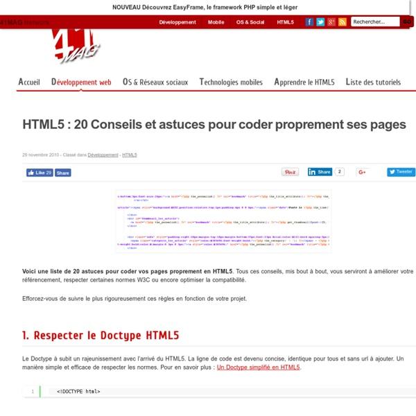 HTML5 : 20 Conseils