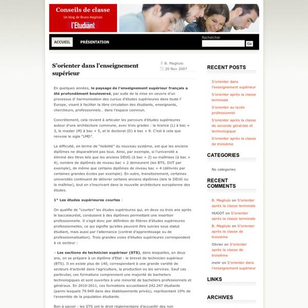 Conseils de Classe - Orientation scolaire et actualité du système éducatif
