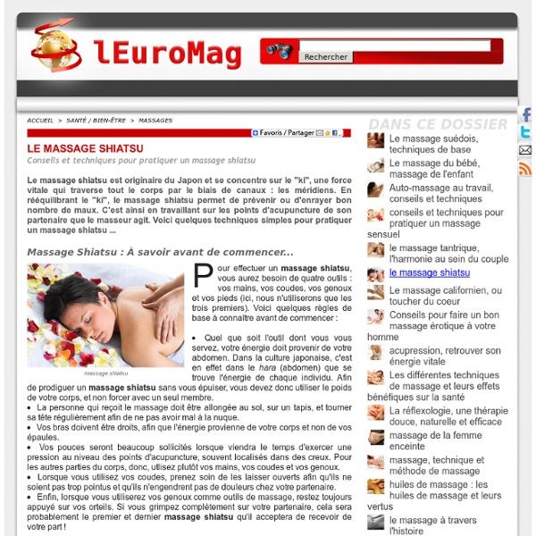 Massage Shiatsu : Conseils et techniques pour pratiquer un massage shiatsu