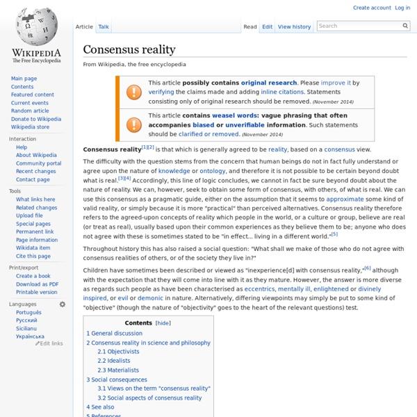Consensus reality