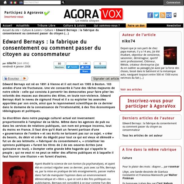 Edward Bernays : la fabrique du consentement ou comment passer du citoyen au consommateur