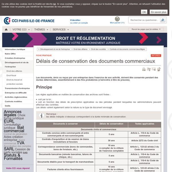 Délais de conservation des documents commerciaux