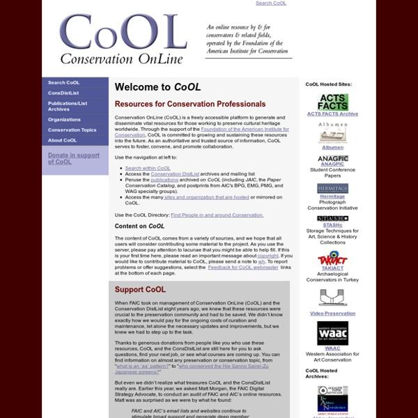 Conservation OnLine - CoOL