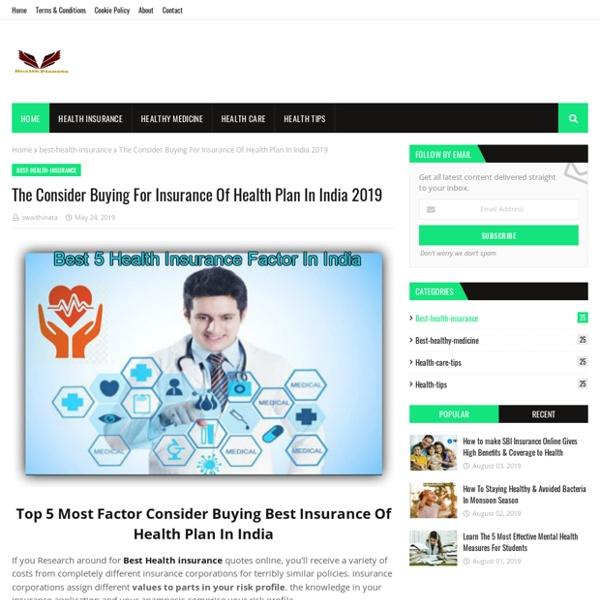 The Consider Buying For Insurance Of Health Plan In India 2019