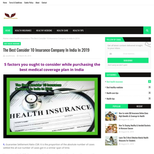 The Best Consider 10 Insurance Company In India In 2019