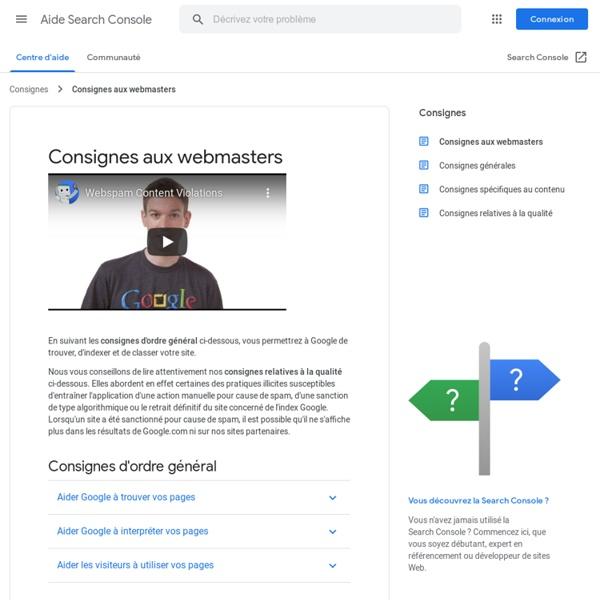 Consignes aux webmasters - Centre d'aide Search Console
