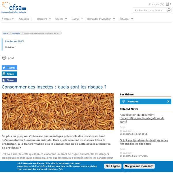 EFSA 08/10/15 Consommer des insectes : quels sont les risques ?