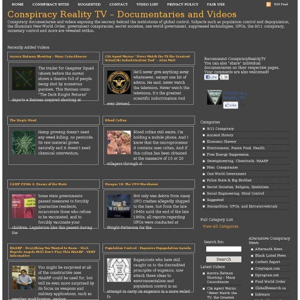 Conspiracy Reality TV - Truth Documentaries, Videos and Movies