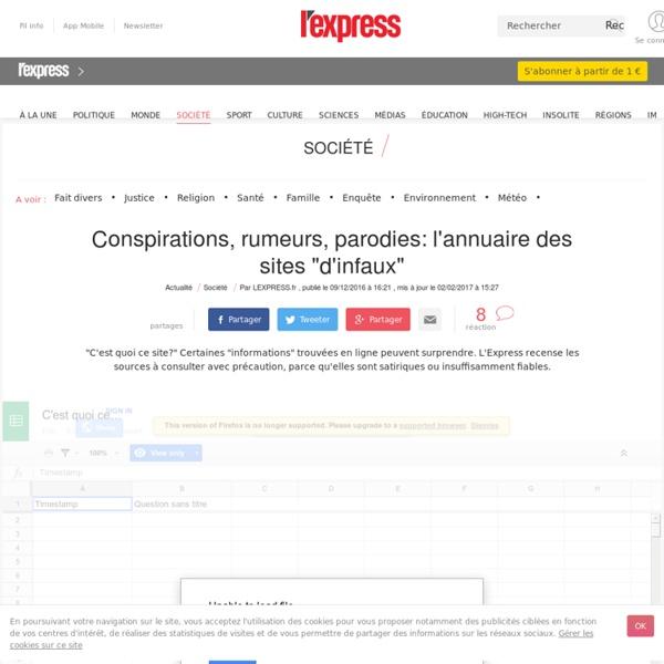 """Conspirations, rumeurs, parodies: l'annuaire des sites """"d'infaux"""""""