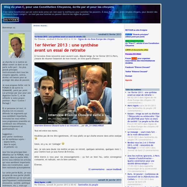 Blog du plan C, pour une Constitution Citoyenne, écrite par et pour les citoyens