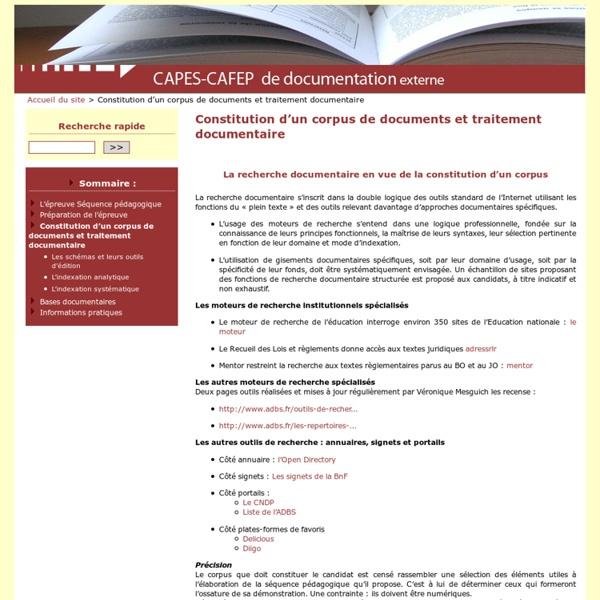 Constitution d'un corpus de documents et traitement documentaire