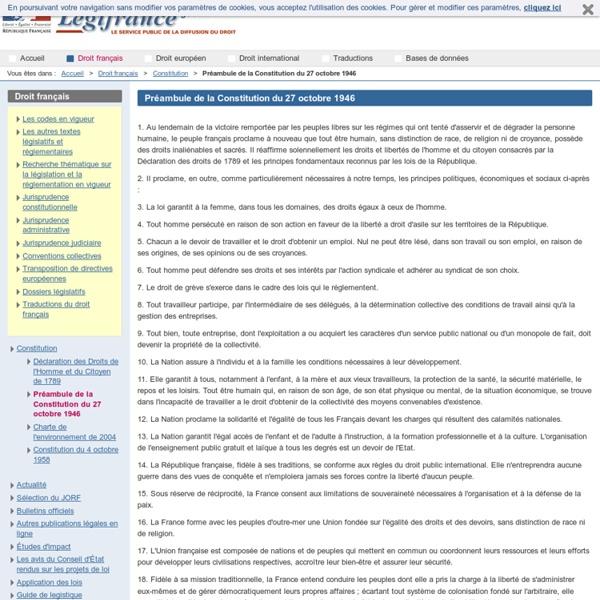 Préambule de la Constitution du 27 octobre 1946 / Constitution / Droit français / Accueil