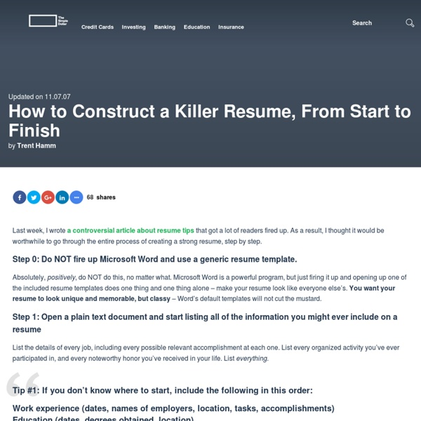 how to construct a killer resume from start to finish