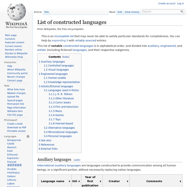 List of constructed languages