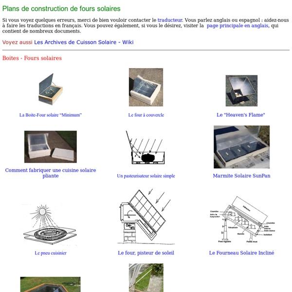 Plans de construction des Cuiseurs Solaires