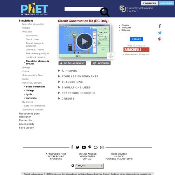 Circuit Construction Kit (DC Only) - Electricité, Circuits, Courant