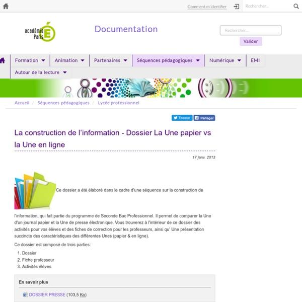 La construction de l'information - Dossier La Une papier vs la Une en ligne