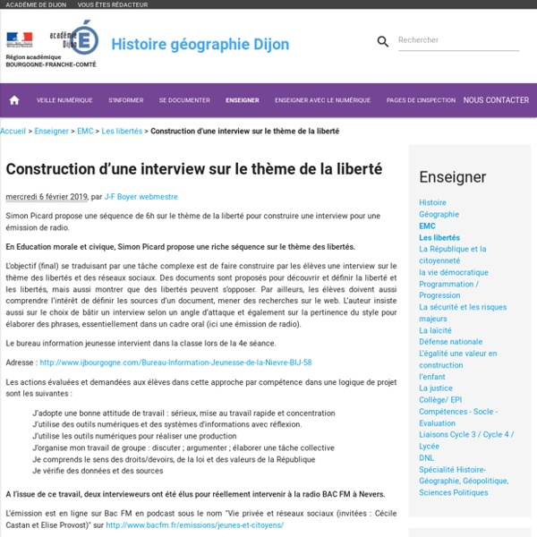 EMC - Construction d'une interview sur le thème de la liberté