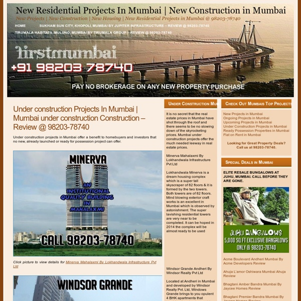 Under Construction Residential Projects Rate In Mumbai