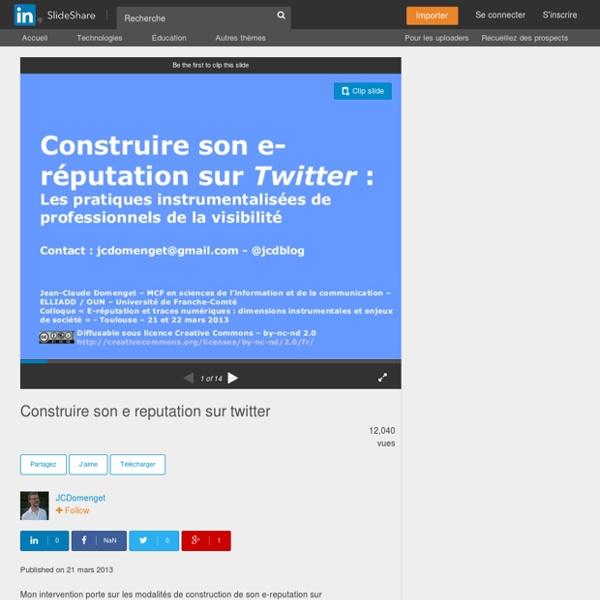 Construire son e reputation sur twitter