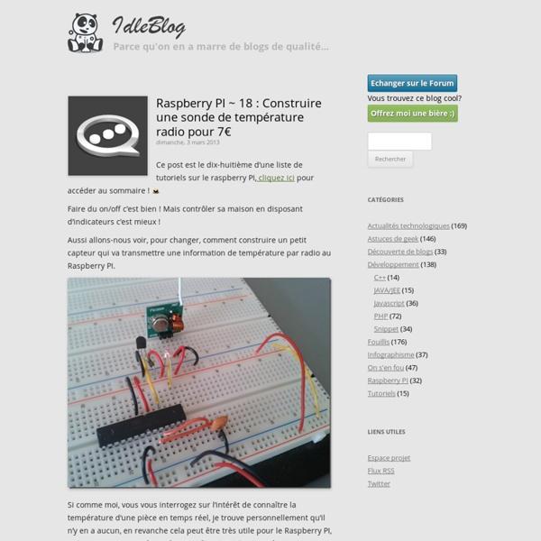 Raspberry PI ~ 18 : Construire une sonde de température radio pour 7€