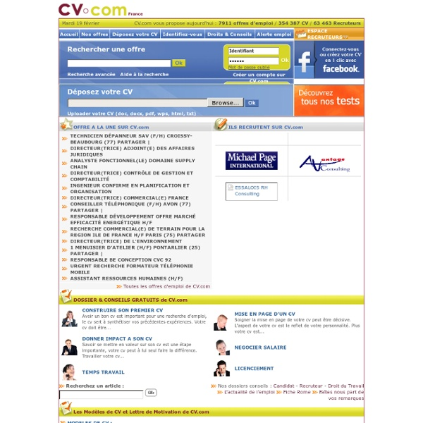 Cv.com - Depot de Cv - Consultation Cv - offres emploi