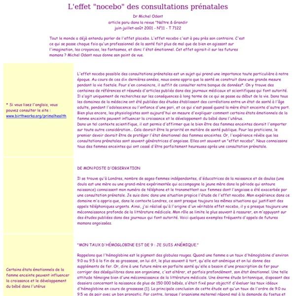 "L'effet ""nocebo"" des consultations prénatales"