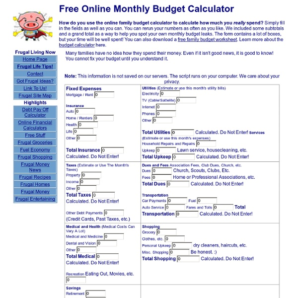 online monthly budget calculator free tool from frugal pig