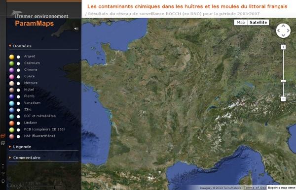 Cartographie IFREMER des contaminants chimiques concernant les huîtres et les moules du littoral français