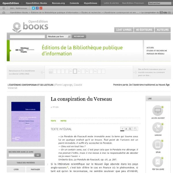 L'ésotérisme contemporain et ses lecteurs - La conspiration du Verseau - Éditions de la Bibliothèque publique d'information