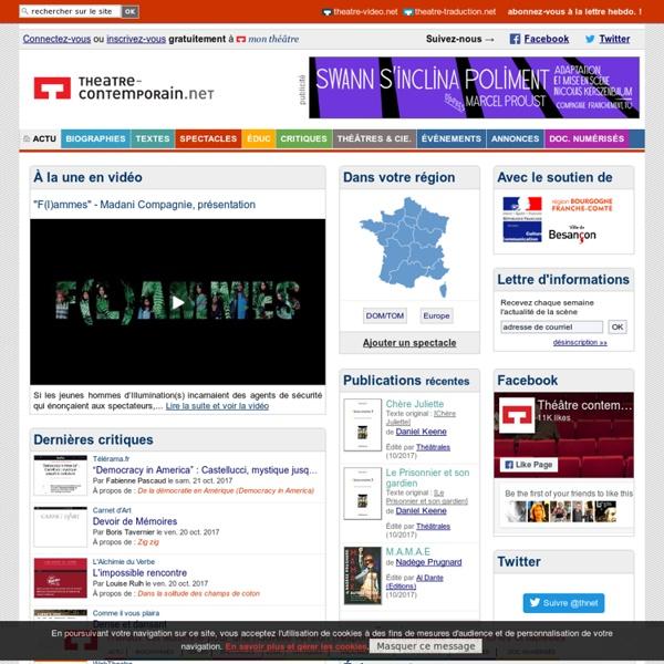 Théâtre contemporain - theatre-contemporain.net - Auteurs de théâtre, spectacles, mise en scène et tout l'univers du théâtre