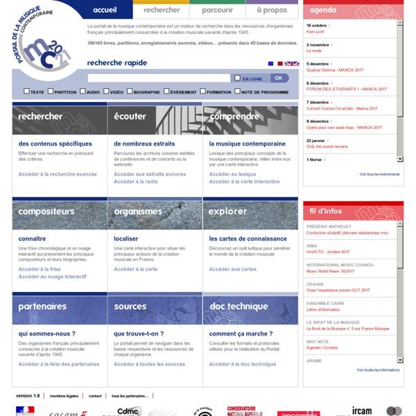Portail de la musique contemporaine en France - French Gateway to Contemporary Music Resources