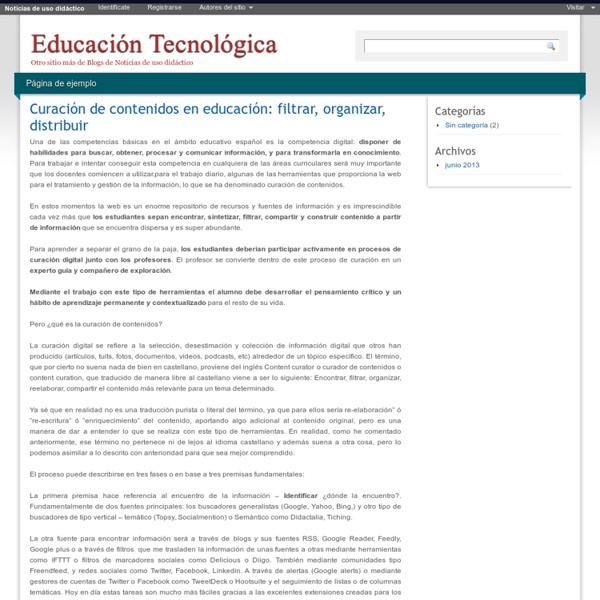 """Propone Fases: Blog de Celestino Fuentes: """"Curación de contenidos en educación: filtrar, organizar, distribuir"""" Javier Leiva, Totemguard, Acanelma. (2013)"""
