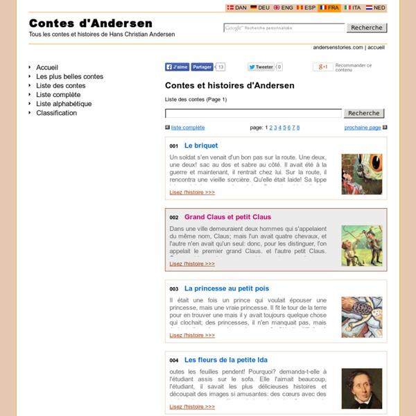 Andersen contes - La liste de toutes les contes de Andersen - Page 1