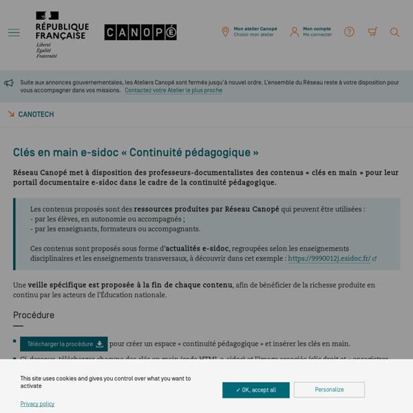 Clés en main e-sidoc « Continuité pédagogique » - CanoTech