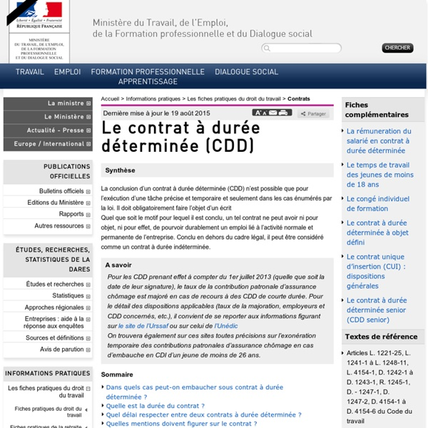 Le contrat à durée déterminée (CDD)