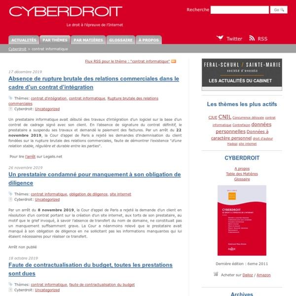 Contrat informatique - Le droit à l'épreuve de l'Internet