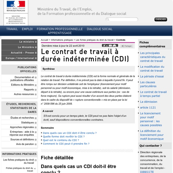 Le contrat de travail à durée indéterminée (CDI)